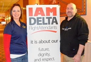 Tammy Rustad, a flight attendant from St. Paul, and Robert Clark, flight attendant from Eagan, attended the IAM meet-and-greet last week.