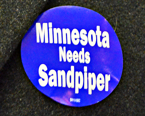 Supporters of the pipeline wore stickers to the public hearing.