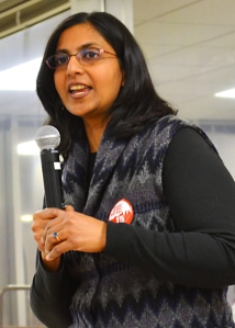 Seattle City Council Member Ksharma Sawant addressed 15 Now supporters in Minneapolis.