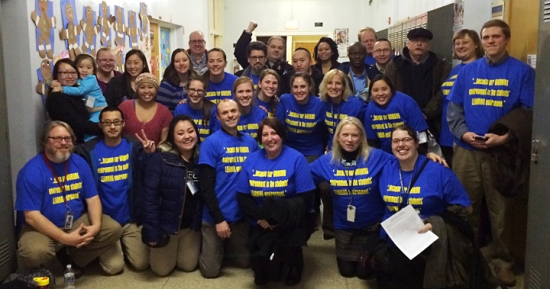 "Teachers and staff wore matching blue shirts with gold stars on the back and the text ""because our WORKING environment is the students' LEARNING environment"" to the CSE board's Jan. 21 meeting. (submitted photo)"