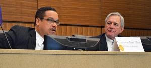 U.S. Reps. Keith Ellison and Rick Nolan host a field hearing on trade at Richfield City Hall.