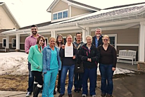 Health care workers celebrate their organizing win at United Pioneer Home in Luck, Wis.