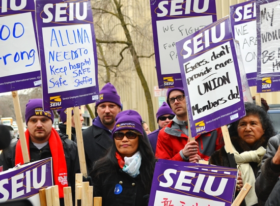 SEIU Healthcare Minnesota members picket outside United Hospital in St. Paul