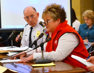 Maplewood Police Chief Paul Schnell listens to RN Mary McGiven's testimony in a Senate committee hearing.