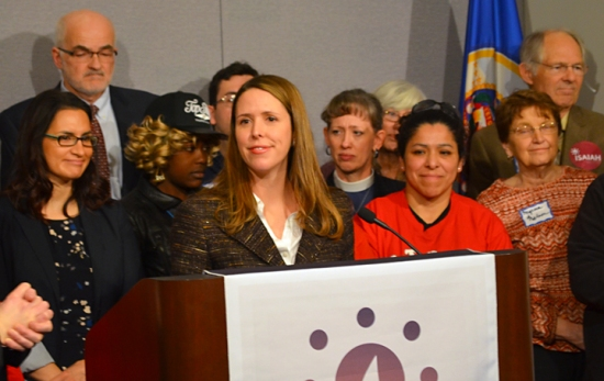 Sen. Katie Sieben (DFL-Newport), a lead offer on legislation to expand access to paid family leave, speaks at a press conference at the Capitol.