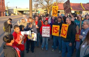 Guillermo Lindsay, a Fight for 15 supporter fired by McDonald's last weekend, addresses supporters on the picket line.