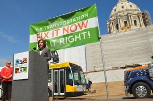 Minnesota AFl-CIO President Shar Knutson addresses the Move MN rally.
