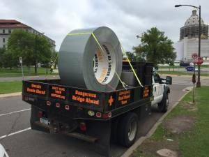 "The Move MN Coalition launched a ""Duct Tape Tour"" of the state from MnDOT headquarters in St. Paul this morning."