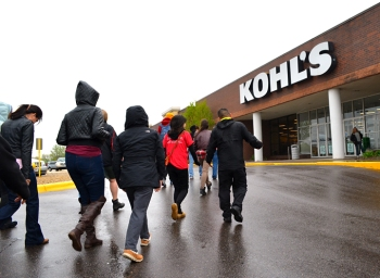 A delegation of retail cleaning workers approached a Twin Cities Kohl's store in May 2015 to voice concerns over working conditions maintained by the retailer's cleaning contractor.