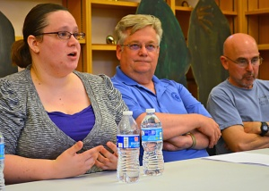 15 Now panelists include Cantare Davunt of OUR Walmart, Rick Ryan of the Machinists union (center) and Kip Hedges.
