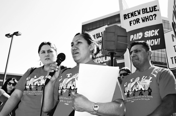 Leticia Zuniga describes what happened as a delegation of workers and their supporters met with Best Buy executives during the shareholder meeting.