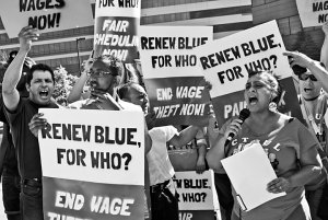 Protesters demonstrate outside Best Buy's annual shareholder meeting.
