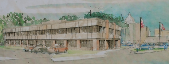 A sketch of the proposed new labor center at 345 W. 7th St. in St. Paul.