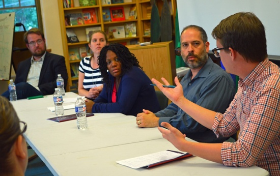 Panelists at the SPFT event yesterday included (L to R) Michael Diedrich, Caitlin Reid, Zuki Ellis, Steve Marchese. SPFT political organizer Patrick Burke moderated.