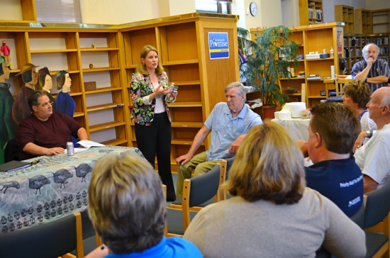 AFL-CIO Secretary-Treasurer Liz Shuler leads a discussion about the Raising Wages Agenda at the East Side Freedom Library in St. Paul.