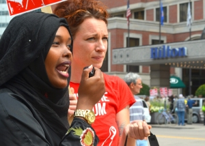 Najma Ahmed speaks in favor of a $15 federal minimum wage.