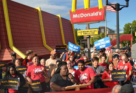 The Minneapolis Works Coalition rallies outside McDonald's in Dinkytown.