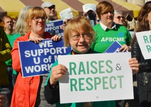 Teamsters and AFSCME members rallied on the Twin Cities campus earlier this year as part of their joint campaign for fair contracts.