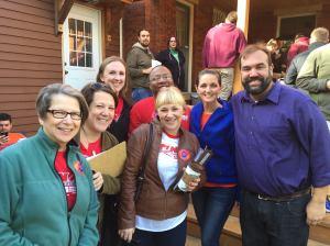 Volunteers with the Minnesota Nurses Association door knock for Darren Tobolt (R) in St. Paul's Ward 2