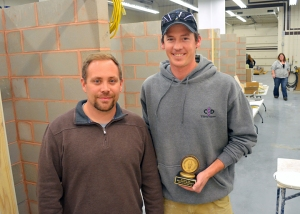 Brandon Peterson (R) and his instructor Sam Greenwood in BAC Local 1's New Hope training center.