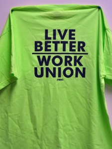 Shirts worn by Building Trades union members at Bonfe's employment open house.