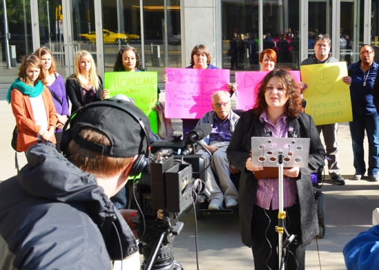 Cortney Phillips, a home care worker from Annandale, speaks to media after a court hearing challenging her collective bargaining rights.
