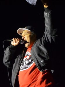 Steven Suffrage, who works at a fast-food restaurant in Minneapolis, fires up the crowd.