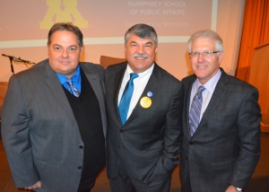 Trumka poses for a photo with St. Paul Regional Labor Federation President Bobby Kasper (L) and Minnesota AFL-CIO President Bill McCarthy.