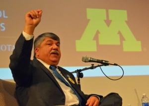 AFL-CIO President Richard Trumka speaks at the U of M's Humphrey School of Public Affairs.