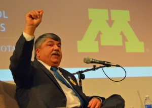 AFL-CIO President Richard Trumka speaks at the U of M's Humphrey School of Public Affairs.