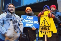 CTUL strikers on the picket line outside Macy's in downtown Minneapolis.