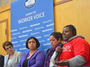 Local workers participated in a panel discussion led by Department of Labor Office of Policy head Sharon Block (L). They include SuperAmerica co-manager Tara Lee Johnson (R) and Maricel Flores (second from left), who cleans a Target in Shakopee.