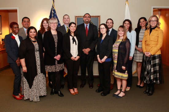 Schatzlein stands to the immediate left of Education Secretary John B. King Jr., at the center of the photo. (U.S. Department of Education photo)