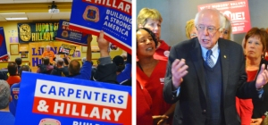Left: Laborers President Terry O'Sullivan rallies a crowd of Hillary Clinton volunteers. Right: Bernie Sanders thanks members of the Minnesota Nurses Association for their support.