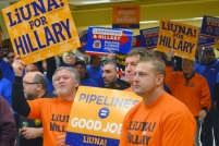 Union members rally in support of Hillary Clinton at the IUPAT hall in Little Canada.