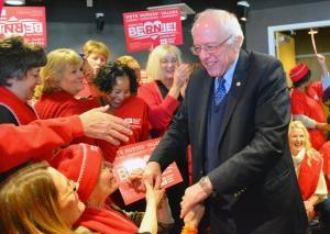 Sanders greets nurses in St. Paul.