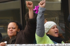 Members of the Minneapolis RLF's People of Color Union Members Caucus rally in support of janitors' contract campaign.