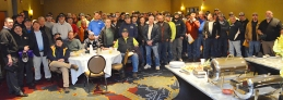 Union plumbers from Minneapolis and St. Paul gather for a banquet breakfast before volunteering.