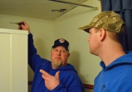 Local 34 journeyman Jason Miller (L) shares a tip with fourth-year apprentice Colby Willson.
