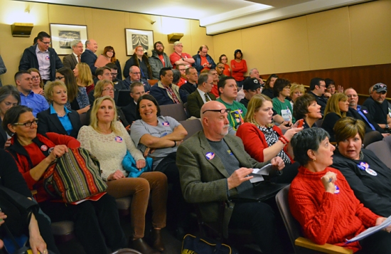 Union members packed the room during a House committee hearing on Right to Work for state employees.