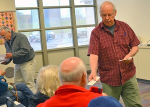 The Retiree Council's Tom Beer distributed information during a presentation on Social Security in Fridley, hosted by Congressman Keith Ellison's office.