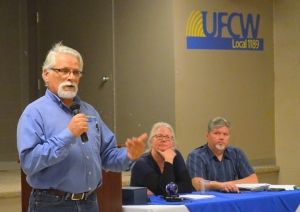 Don Seaquist oversees his last meeting as UFCW Local 1189 president, as Secretary-Treasurer Jennifer Christensen and Recording Secretary Jim Gleb look on.