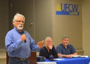 Don Seaquist oversees his last meeting as UFCW Local 1189 president, as Secretary-Treasurer Jennifer Christensen and Recording Secretary Jim Gleb look on.