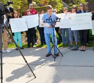 Madeline Gardner, a member of the MN Nurses Association, spoke in favor of a citywide ordinance making paid sick time mandatory.