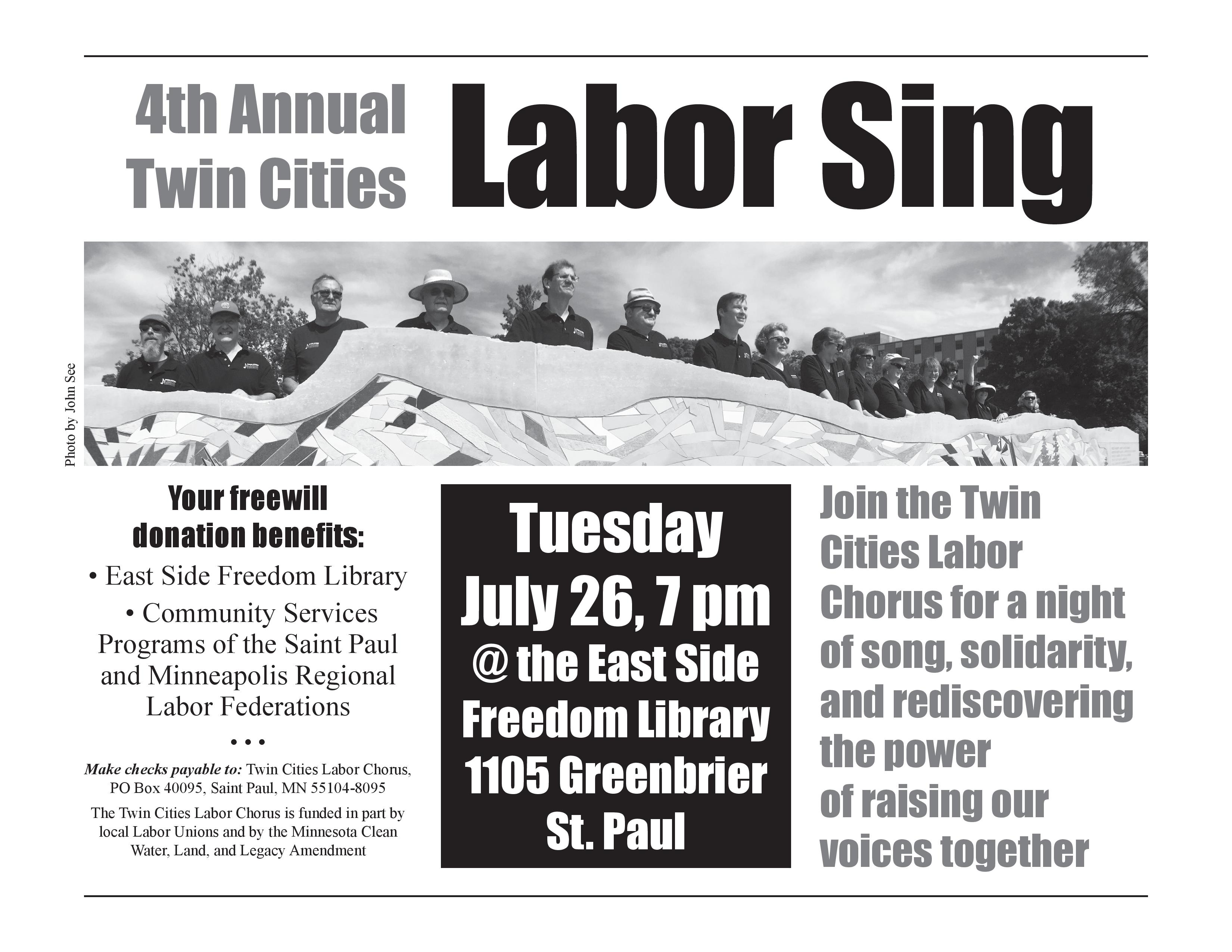 Rediscovering Photography On Summer >> Labor Chorus Summer Concert Is July 26 Union Advocate