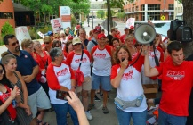 Nurses rallied outside United Hospital in St. Paul during a seven-day strike at Twin Cities Allina Health facilities in June.