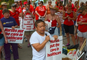 St. Paul City Council member Dai Thao talked to nurses on the United picket line.