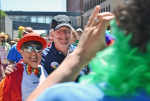 Minnesota AFL-CIO President Bill McCarthy posed for a photo during the 2016 Ashley Rukes GLBT Pride Parade in Minneapolis.