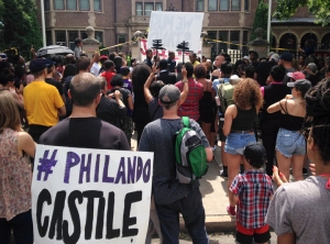 Demonstrators gathered outside the Governor's Residence in St. Paul today to call for justice in the shooting of Phil Castile.