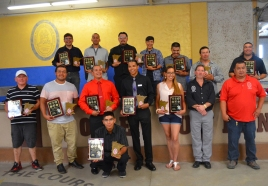 Graduates of the latest Local 633 pre-apprenticeship training, with their instructors, are, L to R, (back) Payne Martinson, Lindsay Mason, Jarvis Goodsky, Alexa Goodsky, Russell Barrett, Billy Jo Garbow, David St. John, (middle) George White, Charles Robinson, Tony Beaulieu, Cameron Fisher, Jasmine Funmaker, Dave Schutta, Moke Eaglefeathers and (front) Mark Boshey.